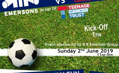 Charity Football Match in Aid of Teenage Cancer Trust on Sunday 2nd June 2019.