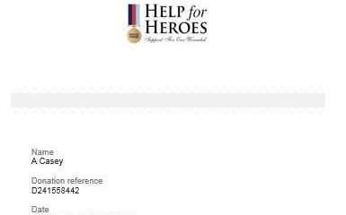 Help the Heroes Charity Donation